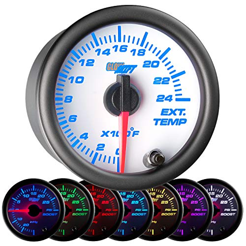 GlowShift White 7 Color 2400 F Pyrometer Exhaust Gas Temperature EGT Gauge Kit - Includes Type K Probe - White Dial - Clear Lens - for Car & Truck - 2-1/16