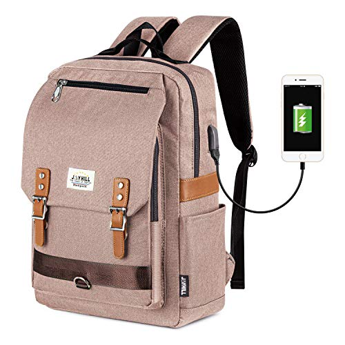 Vintage Laptop Backpack for Men Women, USB Charging Port 15.6 Inch Laptop Backpack for Boys School Backpack Casual Bookbag Khaki