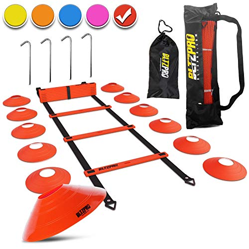 Bltzpro Football & Soccer Training Equipment - 12 Cones & 20 ft Agility Ladder Speed Practice kit for Kids and Coaches - Conditioning & Footwork Workout Gear -with 2 Bags & Agility Drills eBook-RED