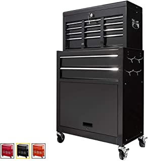 Large Capacity Rolling Tool Chest Removable Tool Storage Cabinet With 8 Sliding Drawers,Detachable Tool Cabinet,Lockable System Toolbox Organizer,Black