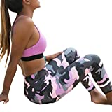 Camouflage Leggings Workout Mode Fitness Gym Sports Courir Yoga Pantalons athlétique -Xinan S-XL (M, Rose)