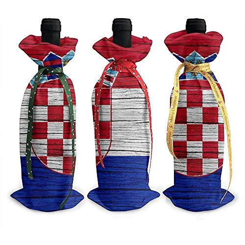 BK Creativity Christmas Wine Bottle Cover,Holz Textur Kroatische Flagge 3Pcs Rotwein Flasche Taschen Für Home Decor