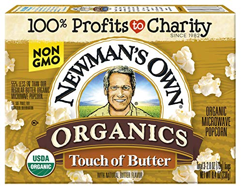 Newman's Own Organics Microwave Popcorn, Touch of Butter, 8.4oz (Pack of 12)