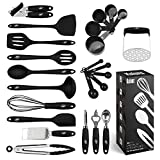 Kitchen Utensils Set, 24 Silicone Cooking Utensils, Non-Stick and Heat Resistant Kitchen Tools, Useful Cooking Gadgets (Black)