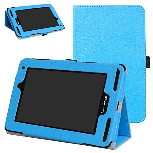 Mama Mouth for Verizon Ellipsis 7 4g LTE Case,Slim Folio 2-Folding Stand Case Cover for 7' Verizon Ellipsis 7 4g LTE Tablet,Light Blue
