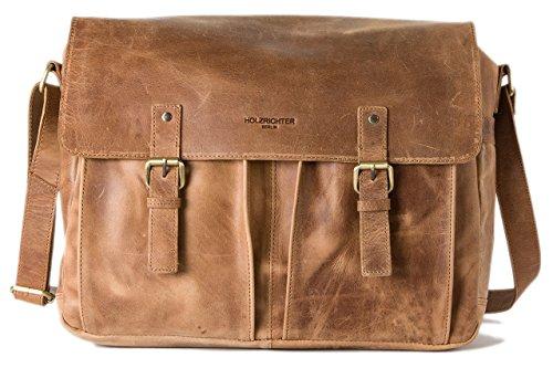 HOLZRICHTER Berlin Umhängetasche (M) - Premium Lehrertasche aus Leder - Vintage Ledertasche für Herren und Damen Groß - Camel-braun