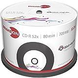 MediaCom IT-Distribution GmbH Primeon CD-R 80Min / 700 MB / 52X Cakebox (50 Discos) Superficie-Vinil-Disco Negro, Imprimible por Chorro De Tinta