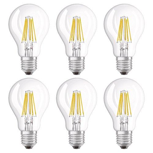 Osram Ampoule LED Filament, Forme Classique, Culot E27, 8W Equivalent 75W, 220-240V, claire, Blanc Chaud 2700K, Lot de 6 pièces