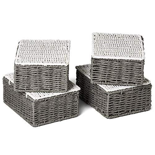 EZOWare 4 pcs Cestas de Almacenaje Multiuso, Cajas Organizadoras con Tapa de Cuerda de Papel Retorcido con Efecto de Mimbre para Cocina, Baño - Gris y Blanco, Pequeño