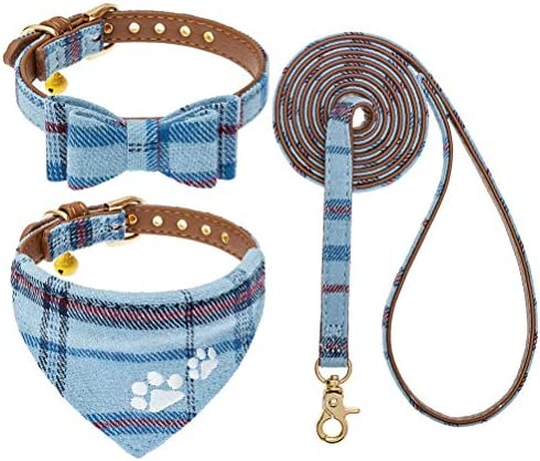 EXPAWLORER Bow Tie Dog Collar and Leash Set 3 Pack Plaid Leash Adjustable Bandana and Collar product image