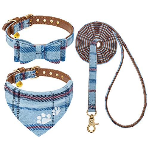 EXPAWLORER Dog Leash Collar Set - 3 Pack Plaid Pattern Adjustable Escape Proof Leash Collar Set for Outdoor Walking