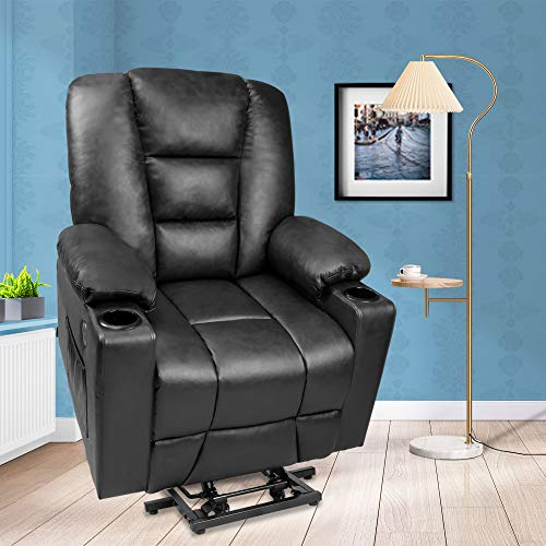 Maxxprime PU Faux Leather Wheel Free Moving Electric Power Lift Recliner Chair Sofa with Massage and Heat for Elderly, withRemoteControls, 2 Side Pockets, Cup Holders, Dual USB Ports (Black)