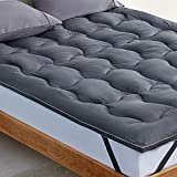 SLEEP ZONE Mattress Topper Cover Cooling Ultra Soft Fluffy Optimum Cushioning Down Alternative Bed Topper 8-21 Inch Deep Pocket, Grey, Twin