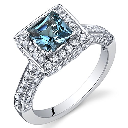 Peora London Blue Topaz Princess Cut Ring in Sterling Silver, Natural Gemstone, Vintage Halo Solitaire Design, 1.00 Carat total, Comfort Fit, Size 5 Comfort Fit Solitaire Setting