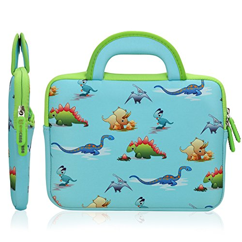 8.9 - 10.1 inch Kid Tablet Sleeve, Evecase Cute Dinosaurs Themed Neoprene Carrying Sleeve Case Bag For 8.9 - 10.1 inch Kid Tablets (Blue & Green Trim, With Dual Handle and Accessory Pocket)