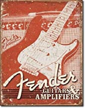 New Fender Guitars & Amplifiers Weathered Look Decorative Metal Tin Sign