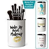 Tri-coastal Design Ceramic Makeup Brush Holder Storage'Wake Up and Makeup' Cosmetic Organizer for Make Up Brushes and Accessories - Round White Cosmetics Cup for Bathroom Vanity Countertop