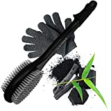 Bath Shower Body Brush Long Handle for Showering with Exfoliating Gloves - Back Washer w/ Bamboo Charcoal Bristle & Exfoliator Scrubber - Men & Women