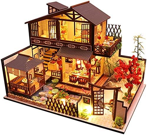 MWKL Lujoso Kit de casa de muñecas de Bricolaje con Muebles, Elegante casa de muñecas en Miniatura de Estilo japonés con música, Juguete Creativo ensamblado en 3D a Escala 1:24