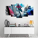 VKEXVDR 5 Paneles Pintura de la Lona Mural Película de superhéroes Estadounidense Arte Fotos Paisaje Imprimir Decoración Moderna del Ministerio del Interior Sin Marco 200 * 100cm