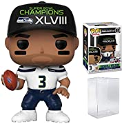 Russell Wilson Seattle Seahawks SB XLVIII Champions as a stylized pop vinyl Bundled Plastic BOX PROTECTOR with the collector in mind (Removable Film) Stylized collectable stands 3 ¾ inches tall, perfect for any NFL fan! Collect and display all NFL Po...