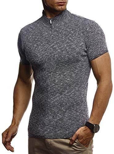 Leif Nelson Herren Sommer T-Shirt Troyer Kragen Slim Fit aus Feinstrick Cooles Basic Sweater Männer T-Shirt Jungen Kurzarmshirt Sweater Shirt Strick Kurzarm Lang LN7335 Schwarz Small