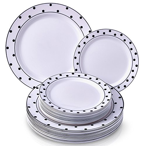 ELEGANT PLASTIC DINNERWARE 40 PC SET | 20 Dinner Plates and 20 Salad or Dessert Plates | Heavy Duty Plastic Plates | Fine China Look | for Upscale Wedding and Dining (Dots– Black/White)