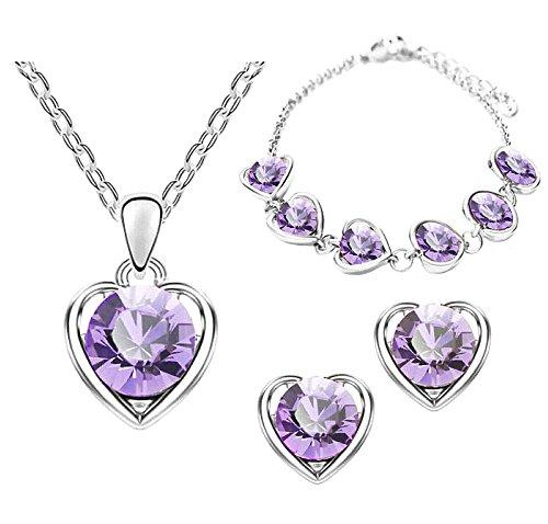 Mianova Damen 3 teiliges Set Silber in Herz Form mit runden Swarovski Elements Kristallen - Ohrringe Armband und Kette Lila