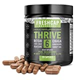 Thrive 6 Mushroom Complex - 120 Capsules - Lion's Mane, Reishi, Cordyceps, Chaga, Turkey Tail, Maitake - Supplement - Real Fruiting Body - No Fillers