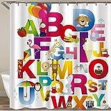 FJXXM Shower Curtain,Alfabeto Animales De Dibujos Animados Colorido León Perro Flamenco Guitarra Pingüino Elefante Baño Cortinas De Ducha, Atractivas Cortinas De Baño para Baño,168x183cm