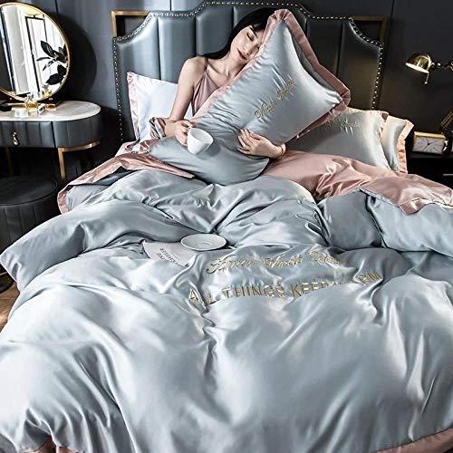 Bedding-LZ Juegos de sábanas de 80,La Seda de Hielo de Verano es Ropa de Cama para Dormir, Funda de Cama de Cuatro Piezas, Color sólido, edredón Doble Individual-T_Cama de 2,0 m (4 Piezas)