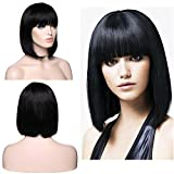 SEGO Parrucca Capelli Veri Donna Wig BOB Umani Lisci 100% Remy Human Hair Wigs Nera Lunga Naturale Straight 130g, Parrucche 30cm (Senza Lace)
