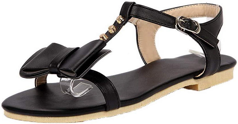 AllhqFashion Women's Buckle PU Open-Toe Low-Heels Studded Sandals,FBULD014721