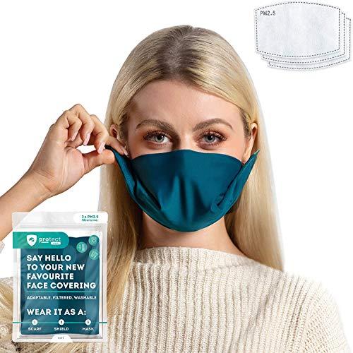 Trtl Pillow and Black & Teal Trtl Protect Face Mask Travel Bundle