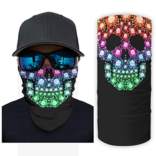 TATA95 Rainbow Diamond Skull Neck Polaina Pasamontañas Mascarilla Diadema Bandana Casco personalizado Forro