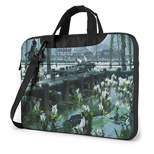 15.6 inch Laptop Shoulder Briefcase Messenger Game Tsushima Ghost-Samurai Tablet Bussiness Carrying Handbag Case Sleeve
