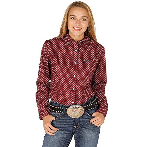 Wrangler Apparel Womens Ladies George Strait Burgundy Print Long Sleeve Button Down Shirt XL Red