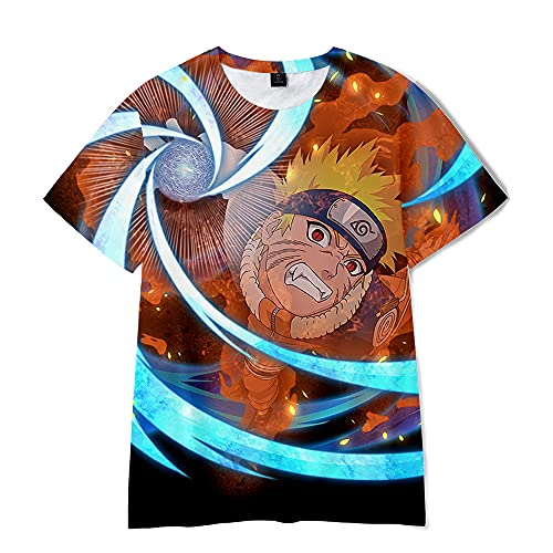 AHDSJDG Naruto Shippūden impresión 3D de Dibujos Animados Cosplay Anime de Manga Corta para Verano Uzumaki Naruto Camiseta Verano de Manga Corta Moda Casual Delgada Top de algodón Todos los Unisexo