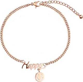 CXQ Personality Fashion Temperament Anklet Women's Wild Happy Smiley Rose Gold Foot Ring Jewelry Gift