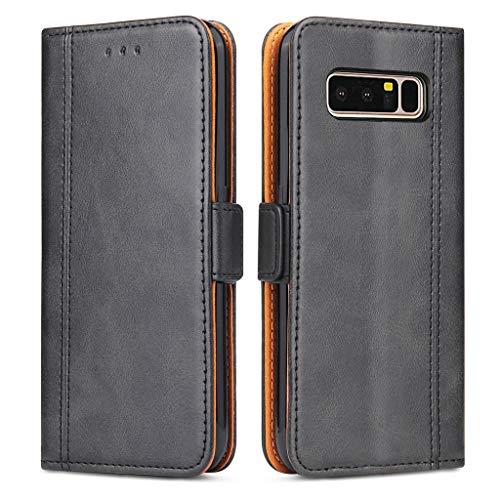 Bozon Galaxy Note 8 Hülle, Leder Tasche Handyhülle für Samsung Galaxy Note 8 Flip Wallet Schutzhülle mit Ständer & Kartenfächer/Magnetverschluss (Schwarz-Grau)