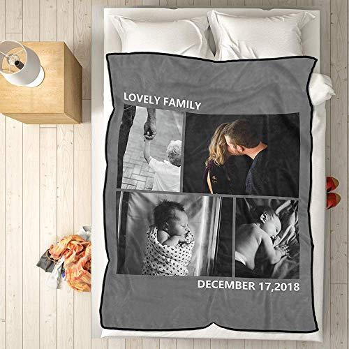 VEELU Fotodecke mit Eigenem Foto Name Super Weich - Decke Selbst Gestalten Bedrucken Lassen Kuscheldecke Personalisierte Geschenk für Freunde Familie Geburtstag Weihnachten 140 x 203cm