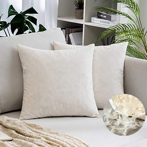 MIULEE 2 Piezas Relleno de Almohada Plumas de Pato Mullido Suave para Dormir Transpirable Almohada Estandar para Adultos Cama Habitación Dormitorio 45x45cm 760g Blanco