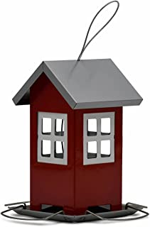 Maison mangeoire métallique. pour Oiseaux. Toit Amovible. Distribution de graines. Boule de Graisse. Rouge