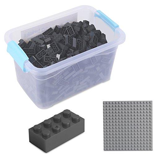 Katara Juego De 520 Ladrillos Creativos En Caja Con Placa De Construcción 100% Compatibles Con Lego Classic, Sluban, Papimax, Q-bricks, Gris Oscuro (1827) , color/modelo surtido