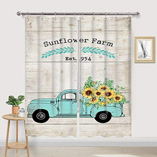 JAWO Farmhouse Sunflower Kitchen Curtain, Yellow Flowers on Pickup Truck with 'Sunflower Farm' Letters on Rustic Wood Window Curtain Valance for Window Treatment Set with Hooks, 42X62 in