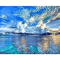 ブラシで描くDIY油絵絵の具ペイント、大人の装飾のための番号キットによるペイント青い空と海40X50Cm