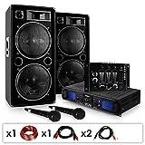 DJ Set DJ-20.1' - Pack Sono Pro, Set Sono, Set Enceintes, Table de mixage, Amplificateur PA, Subwoofers Basses 12', 2000...