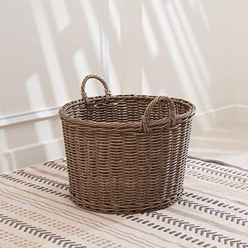 VIFAH Mila 19-Inch Round Resin Storage and Organizing Basket with Handles- Size L, L, Mocha