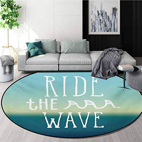 Check Out This Ride The Wave Modern Machine Washable Round Bath Mat,Ride The Wave Quote with Ocean H...