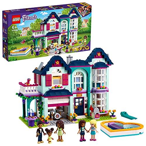 LEGO Friends La Villetta Familiare di Andrea, Casa delle Bambole con Piscina e Studio Musicale, 41449
